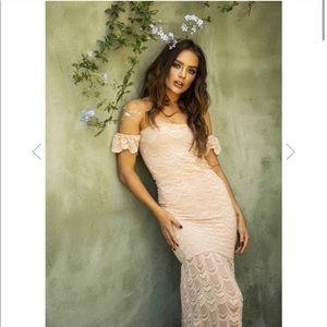 Nightcap Clothing Victorian Flutter Dress Nude XS